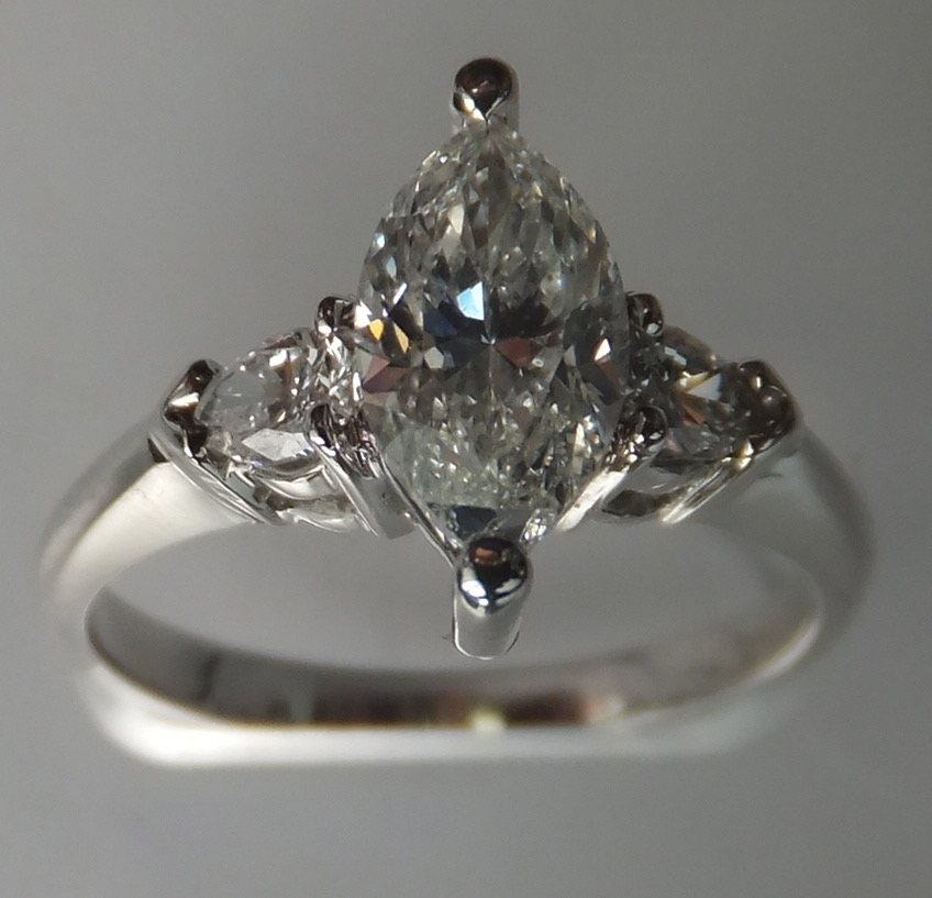 Teardrop diamond engagement ring